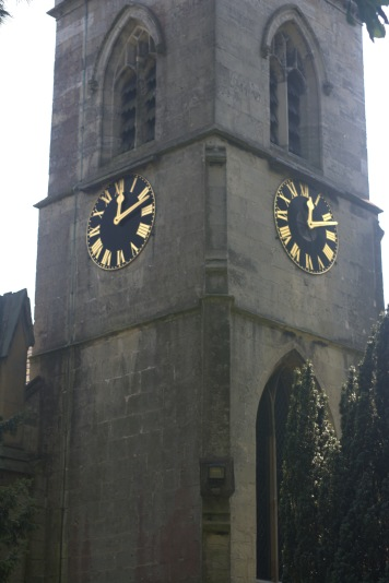 Church clock with bell tower