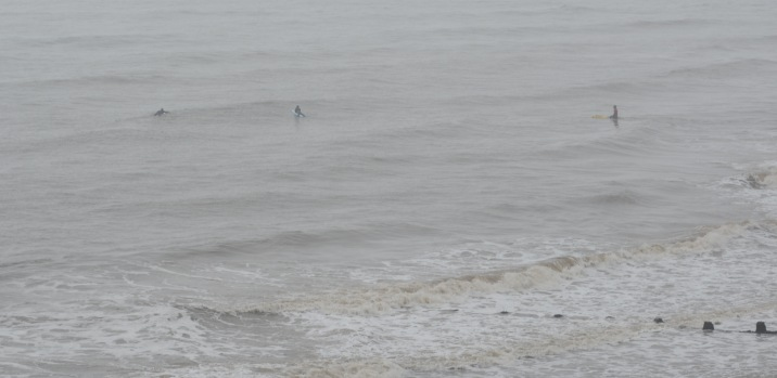 Freezing but surfing in rain