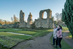 Abbey Ruins with Sister and Niece in foreground