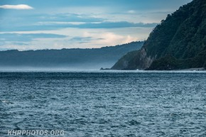 mist forming at the entrance to the Tasman sea